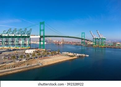 Vincent Thomas Bridge, Port of Los Angeles, San Pedro, California, USA