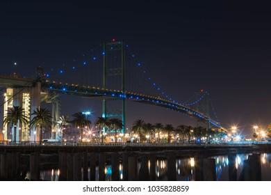 vincent thomas bridge san pedro docks long exposure