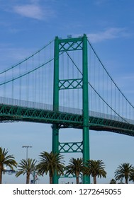 Vincent Thomas Suspension Bridge west tower over the main channel of the Port of Los Angeles is 365 feet tall.