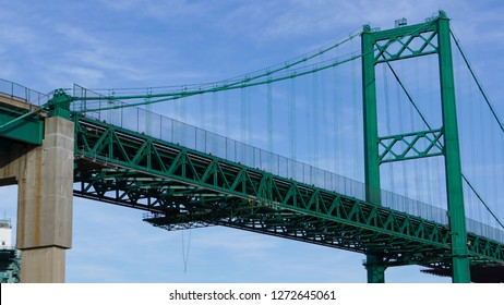 Vincent Thomas Suspension Bridge west tower and anchor pier in the Port of Los Angeles