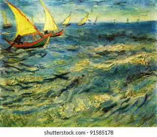 Vincent Van Gogh (1853 - 1890) The sea at Saint-Marie. 1883. Pushkin Museum of Fine Arts. Reproduction of old postcards, USSR, circa 1983