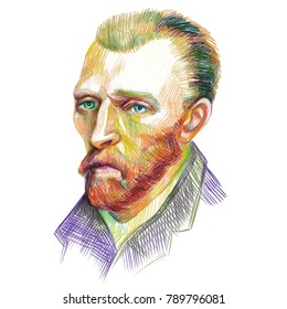 Vincent van Gogh artist portrait drawn with color pencils