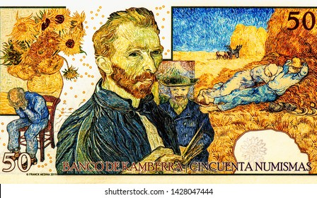 Vincent van Gogh. Artists, world-famous artists on 50 Numismas Canberra 2019 banknotes. Fancy polymer money. Applied Currency Concepts. Banknotes Collection
