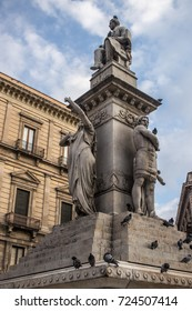 Vincenzo Bellini memorial on Stesicoro Square in Catania, Sicily, Italy