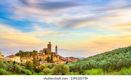 Vinci, Leonardo birthplace, village skyline and olive trees at sunset. Florence, Tuscany Italy Europe.