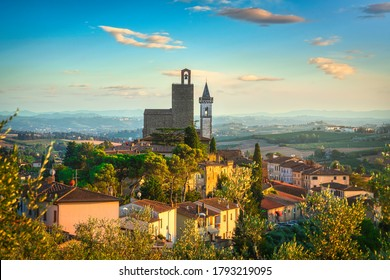 Vinci, Leonardo birthplace, village skyline at sunset. Florence, Tuscany Italy Europe.
