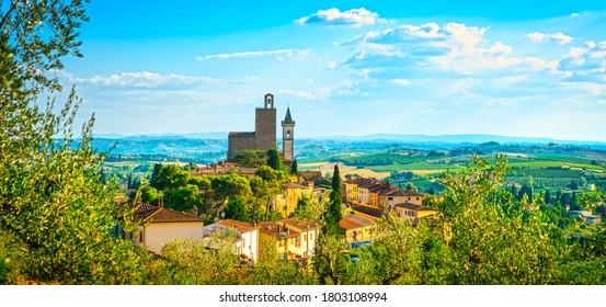 Vinci panoramic view, Leonardo birthplace, village skyline. Florence, Tuscany Italy Europe.