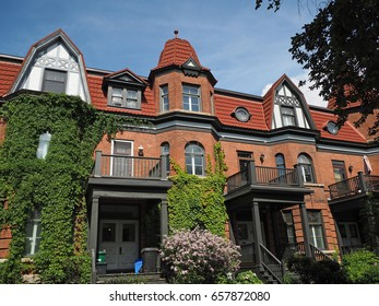 vine covered Victorian row houses