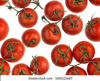 Vine tomatoes, isolated on white backlit background. Seamless image to be repeated endlessly