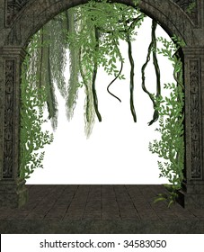 Vines in a doorway on a white background