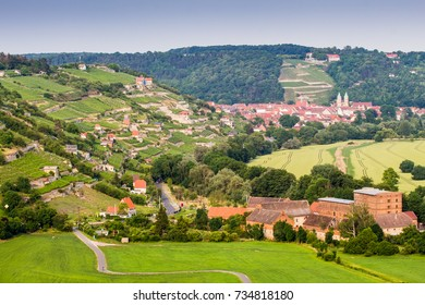 Vineyard at Castle Neuenburg and Town Freyburg (Germany)