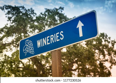 Vineyard sign and directions to winery