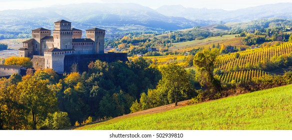 Vineyards and beautiful medieval castles of Italy - Torrechiara near Parma. Emilia-romagna.