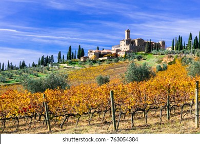 Vineyards and castles of Tuscany in autumn colors. Castello Banfi. Italy