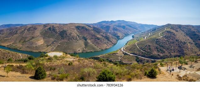 Vineyards and Douro River near Vila Nova de Foz Coa, Portugal