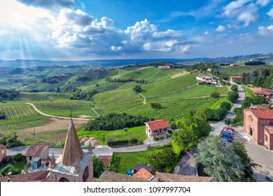 Vineyards in the Langhe countryside (Piedmont, Northern Italy), taken from the viewpoint of Serralunga d'Alba (UNESCO World Heritage Site since 2014).