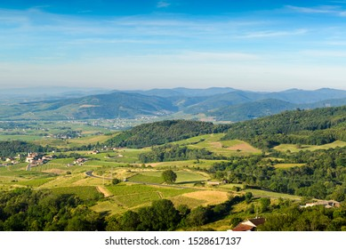 Vineyards and mountains of Beaujolais, France