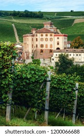 Vineyards of the village of Barolo (Piedmont, Italy) with the town and the medieval castle on background. Barolo is the main village of the Langhe wine district