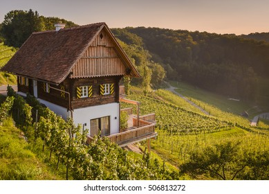 Vineyards with winery in autumn - White wine grapes before harvest, and typical architecture of Southern Styria Austria