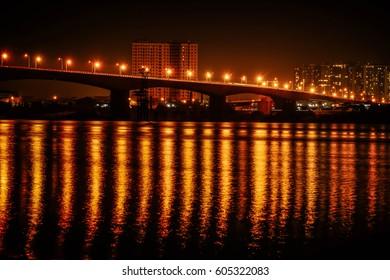 Vinh Tuy bridge over Hong Red river in Ha Noi capital, Vietnam