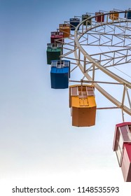Vinhedo, SP/ Brazil - July 28, 2018: Ferris Wheel at Hopi Hari theme park. The park was Reopened on August/2017 with a new owner and totally renovated.