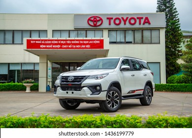 Vinhphuc, Vietnam - May 29, 2019: Toyota Fortuner TRD 2019 car, taken within a test drive in Toyota Vietnam factory. Toyota Motor is a Japanese automotive manufacturer headquartered Aichi, Japan.