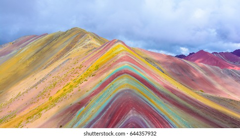 Vinicunca, Montana de Siete Colores, or Rainbow Mountain, Pitumarca,Cusco, Peru