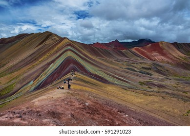 Vinicunca, or more commonly known as Rainbow Mountain, in the Peruvian Andes, so colored due to eroding rocks