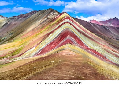 Vinicunca, Peru - Rainbow Mountain (5200 m) in Andes, Cordillera de los Andes, Cusco region in South America.