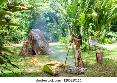 Vinjales / Cuba - June 10 2014:  Indian traditions shown by indian man in the camp near the camp fire in Vinjales, Cuba.
