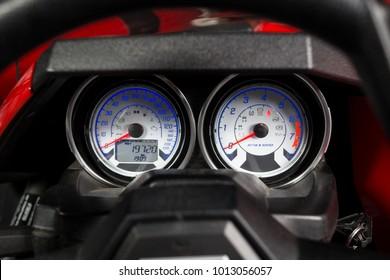 Vinnitsa, Ukraine - 18 November 2017: Polaris Slingshot, a three-wheeled motor vehicle - speedometer