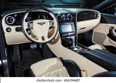 Vinnitsa, Ukraine - 30 July 2013: Executive car Bentley Continental GT Speed - interior
