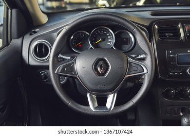 Vinnitsa, Ukraine - April 02, 2019. Renault Logan MCV - new model car presentation in showroom - steering wheel and speedometer