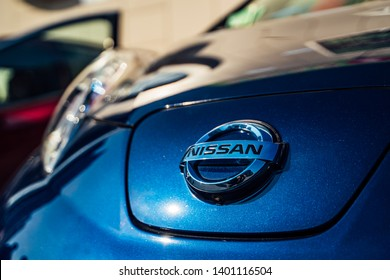 Vinnitsa, Ukraine - April, 2019. Electric car Nissan Leaf - new model car presentation. Eco-friendly alternative energy concept