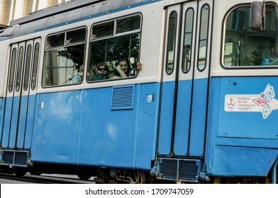 Vinnitsa, Ukraine - april 21, 2020: tram in an Ukraine city, Ukrainian street