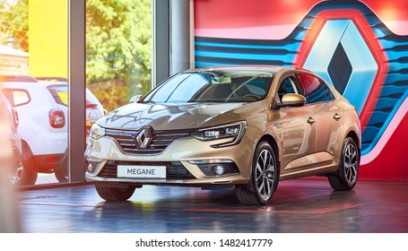 Vinnitsa, Ukraine - August 07, 2019. Renault Megane - new model car presentation in showroom - front view
