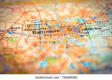 Vinnitsa, Ukraine - August 25 , 2017: map of Baltimore