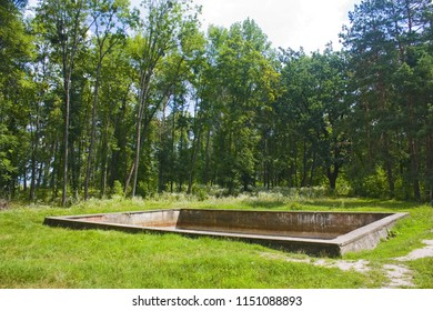 """Vinnitsa, Ukraine - August 4, 2018: The surviving fire-fighting pool in «Werwolf» (Stavka of Adolf Hitler). Nowadays «Historical and memorial complex of victims of Nazism"""" near Vinnitsa"""