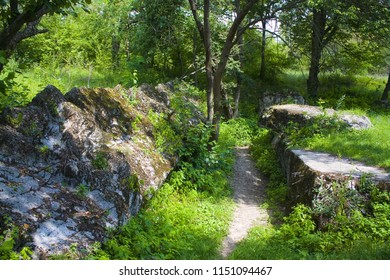 "Vinnitsa, Ukraine - August 4, 2018: Remains of «Werwolf» (Stavka of Adolf Hitler). Nowadays «Historical and memorial complex of victims of Nazism"" near Vinnitsa"