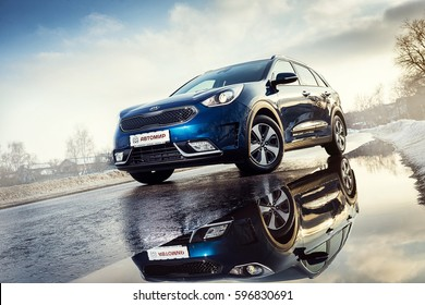 Vinnitsa, Ukraine - February 19, 2017.KIA Niro concept car - on road in motion