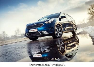 Vinnitsa, Ukraine - February 19, 2017.KIA Niro concept car - on road in motion