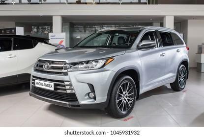Vinnitsa, Ukraine - January 10, 2018. Toyota Highlander concept car - presentation in showroom