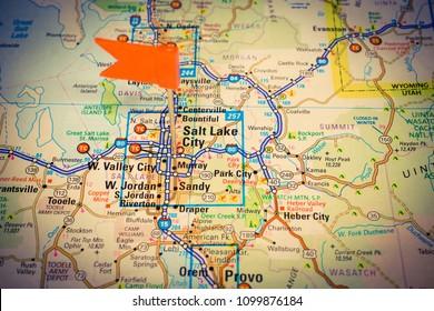 Salt Lake City Utah Map Stock Photos Images Photography