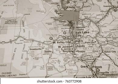 Vinnitsa, Ukraine - January 15 , 2017: US Atlas closeupSalt Lake City pinned on a map of USA