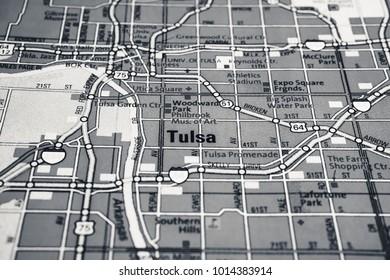 Vinnitsa, Ukraine - January 18 , 2017:  Tulsa, United States map