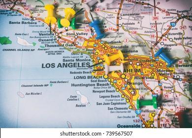 Vinnitsa, Ukraine - January 18 , 2017: San Diego pinned on a map