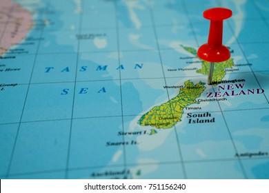 Vinnitsa, Ukraine - January 18 , 2017:  New Zealand on the map