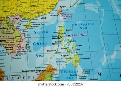 Vinnitsa, Ukraine - January 18 , 2017:  Philippines on the map