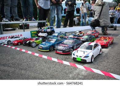 Vinnitsa, Ukraine - June 02, 2012.Radio-controlled race cars on a desert summer day