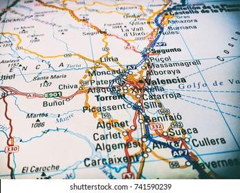 Vinnitsa, Ukraine - June 25 , 2017: Valencia and the coast of spain on the map